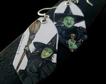 Wicked Witch of the West Elphaba hand-painted Wizard of Oz Old Hollywood Earrings