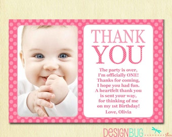 Custom invitations holiday cards and more by designbugstudio first birthday matching thank you card 4x6 the big one diy printable thank you stopboris Choice Image