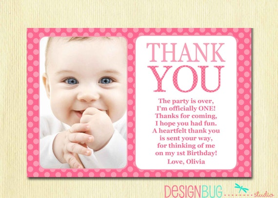 First birthday matching thank you card 4x6 the big one diy like this item bookmarktalkfo Image collections