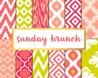 Buy 2 get 1 free with code SPRINGBREAK Sunday Brunch Ikat Version 2 Digital Paper Pack (Instant Download)