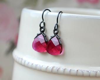 Ruby Red Earrings, Red Crystal Earrings, Swarovski Briolette Earrings, Drop Earrings, Crimson Earrings Crystal Jewelry, UK, Mothers Day Gift
