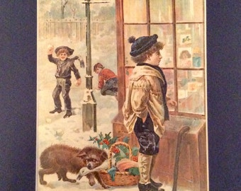 Young Boys, Winter Scene--Color  Lithograph with Mat