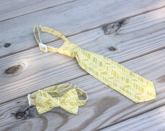 Yellow /  Green Herringbone Neck Tie or Bow Tie (BowTie) for Baby, Infants, Toddlers, Youth, Boys, Men boys outfit wedding