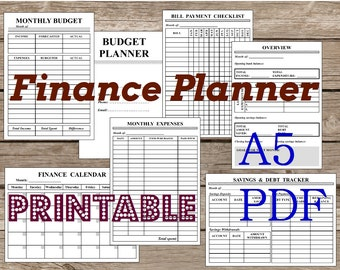 Finance Planner, A5, PDF. Printable. BW. Black and white. Filofax Personal Inserts Undated. Grayscale. Instant Download.