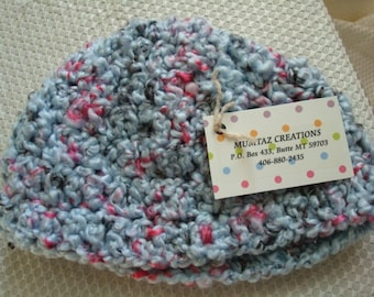 Blue Ladybug Popcorn Crocheted Toddler  Beanie Hat - 65
