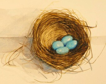 Four Siblings  nest watercolor painting tiny nest robins egg blue bird nest nature small painting blue birds nest