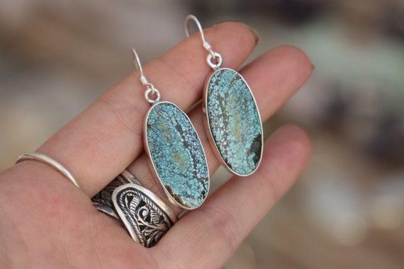 ARIZONA TURQUOISE EARRINGS - 925 Sterling Silver Earrings - Gemstone - Navajo - Handmade - Natural - Vintage style - Bespoke - Birthstone