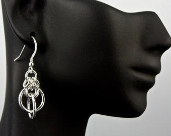 Orbits Handmade Chain Maille Earrings, Orbits Chain Earrings, Orbits Sterling Silver Earrings, Chain Maille Earrings, Chainmaille, Chainmail