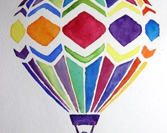 Hot Air Balloon Watercolor Painting