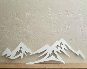 Ski Decor Mountain Metal Wall Art, Rustic Cabin Decor, Vacation Home Decor, Lake House Metal Wall Decor, Mountains Are Calling Metal Sign