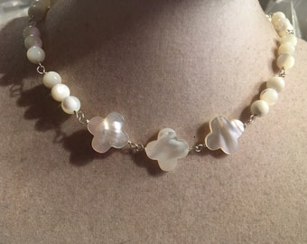 White Necklace - Mother of Pearl Jewelry - Quatrefoil Gemstone Jewellery - Sterling Silver - Luxe