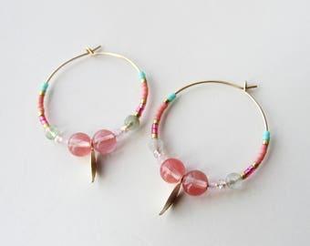 """Créoles en plaqué or Gold Filled et perles Miyuki """"feuilles"""""""