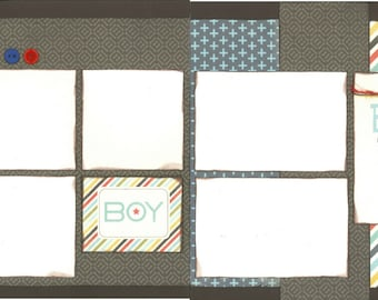 12x12 BEST BOY scrapbook page kit, premade boy scrapbook, 12x12 premade page kit, premade scrapbook pages, 12x12 scrapbook layout