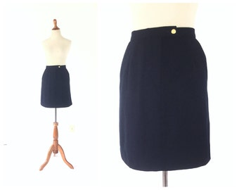 Navy Blue Skirt / large skirt / wool skirt / preppy skirt / short skirt / Women Bottom Skirt / Vintage Clothing Skirt