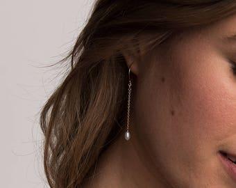 ARIA Drop Earrings • Tiny Oval Pearl Earrings • Long Chain Earrings, Delicate Earrings, Freshwater Pearl Earrings, Wedding Earrings, Dainty