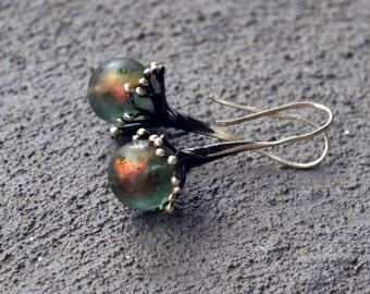 Lampwork earrings/ Artisan lampwork beads and silver earrings / 'Black ice'  and silver/ Black Ice - Winter Tale - Glass Earrings