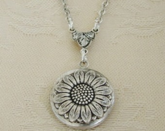 Small Silver Sunflower Locket Anniversary Petite Daughter Wedding Bride Bridesmaid Birthday Wife Mother Daughter Sister PhotoPictures-Camryn