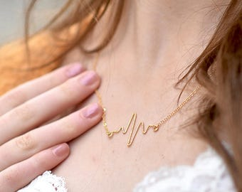 Handgeschmiede heart beat chain filled gold | sn-08
