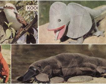 4 Aussie Animals Pattern, PDF Sewing Pattern, PDF Pattern, Frilly Neck Lizard, Kangaroo, Kookaburra, Platypus, Toy Pattern