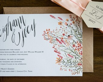 Windswept Wildflowers Invitation Summer Floral Watercolor Wedding Invites Printable Editable PDF Card Template Instant Downloadable