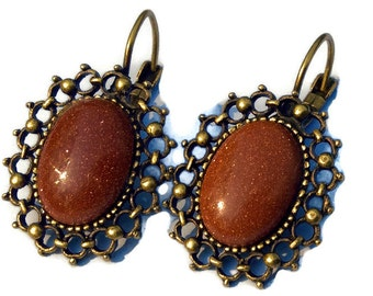 Antique Bronze and Gold Stone Earrings - Bronze Earrings - Gold Stone Earrings - Antique Bronze Earrings, Gold Stone Earrings, Oval Earrings
