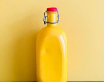 French Vintage Aluminium Yellow Water Flask
