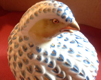 Partridge quail blue and gold
