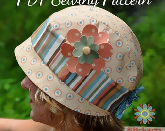 Vintage Cloche HAT SEWING PATTERN, Digital Hat Pattern, Retro Flapper Hat Pattern, Baby Girl Teen Womens Hat Sewing Pattern, Digital Pdf