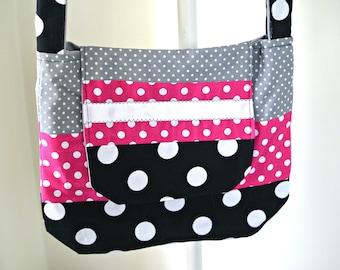 Cross Body Bag, Polka Dot Pattern, Urban Messenger Bag