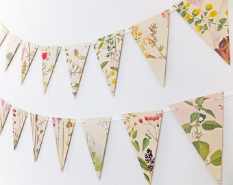 Bunting banner, Flower Bunting, Victorian Garland, Recycled Paper Garland, eco-friendly banner - wedding decor - Wedding Pennants