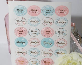 Board of 24 floral Thank You stickers