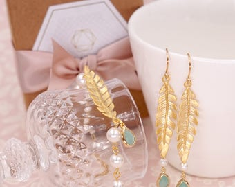 Simple Gold Leaf Earring & Bracelet - Laurel Olive Leaf hand beaded pearl mint teardrop bridal bridesmaids gifts for her jewelry E298
