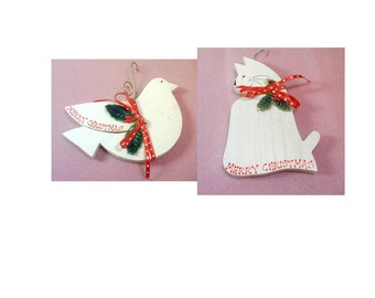 Vintage Wooden Painted White Cat and Dove Ornaments - Hand Crafted