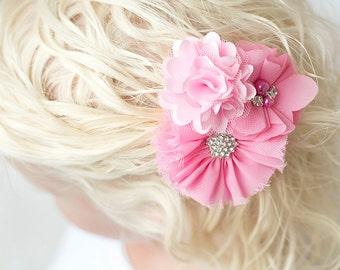 Pink flower clip, pink hair clip, girl birthday gift, baby hair clip, toddler hair bow,  pink wedding flower accessory, maid of honor gift