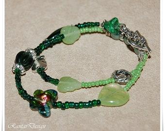 Wrap Bracelet beaded bohemian Pearls crystals