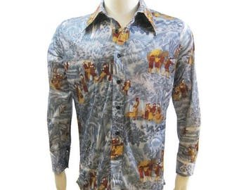 Vintage 70s Shirt Mens Nylon Jersey Novelty Print Street Scene Long Sleeve Disco L 3xUGviD