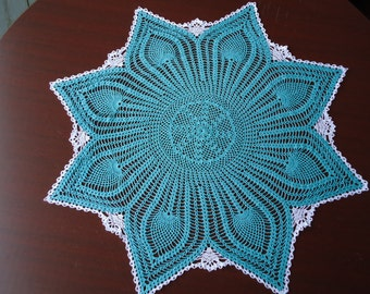 Handmade Crochet Doily Centerpiece in Turquoise Measuring 24.25 inches