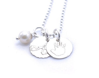 Baby Handprint Necklace Embossed Using Your Child's Actual Handprint Tiny Handprint and Initial Charm Necklace | Order TODAY ships TOMORROW