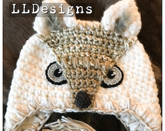 White Wolf crochet hat