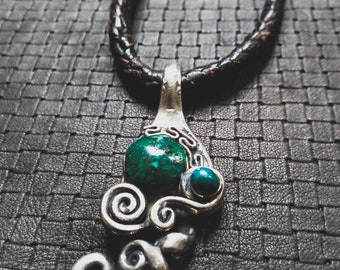 SALES !!Chrysocola Fork Leather Necklace - Original - Design - Gems - Stone - Boho - Gypsy - Handmade - Unique- Cosplay- Minimalist -Fantasy