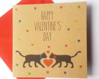 Black Cat Valentine Card - Happy Valentine's Day