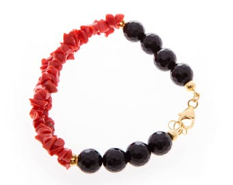 Women's bracelet in silver 925 with semiprecious stones-coral, agate