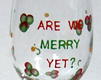 Wine Glass Christmas Hand Painted