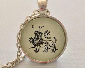 ANCIENT LEO glass pendant necklace, Astrology necklace, Leo jewellery, Silver astrology necklace