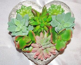Mother's Day Gift, Faux Succulent Arrangement, Cement Heart Succulent Planter, Artificial Succulent Gift, Modern Arrangement, Gift for Mom