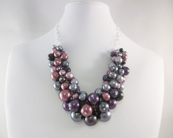 """Pearl Cluster Necklace in """"Goth Romance"""" - Chunky, Choker, Bib, Necklace, Wedding, Bridesmaid, Formal, Party Pearls, SRAJD"""