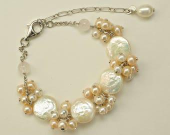 Wedding Pearl Bracelet White Light Peach, Bracelet for Bride, Bridesmaid Pearl Bracelet, Bridal Pearl Jewelry