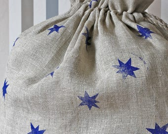 Laundry linen bag drawstring   Gift Bag   Linen Burlap Sack   Holiday Bag   Eco storage bag