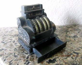 Miniature metal cash register replica vintage