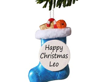 Christmas Stocking Personalised Tree Decoration, Gift for Friends, Couples 1st Christmas, Electric Blue - Truly for You